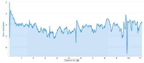Reebok 7 Nisan koşusu tempo grafiğim