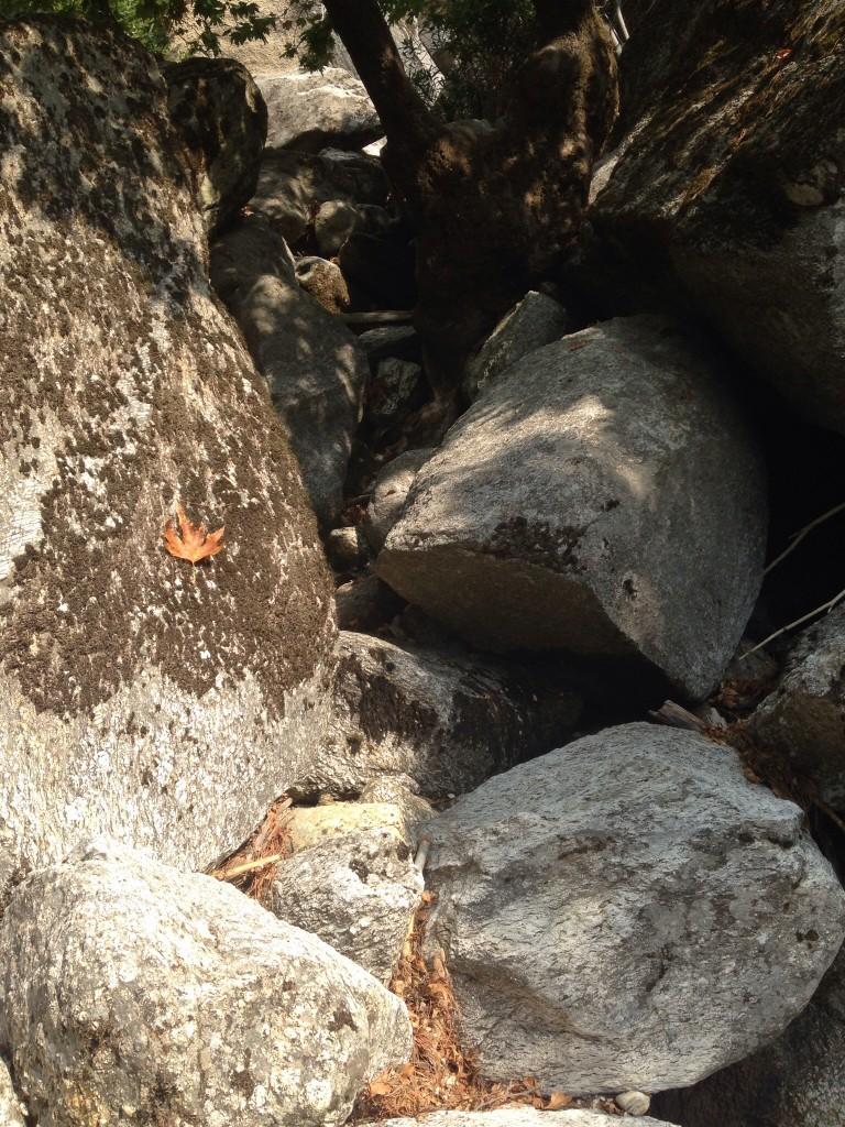 Yağışlardan sonra bolca su aktığı belli olan vadi tabanında koca ve dev arasındaki taşlara tırmanış, indim, atladım.